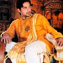 Sherwani With Yellow Colored Kurta And White Colored Dhoti