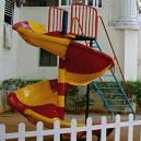 Red And Yellow Coloured Spiral Slide