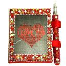 Handmade Note Book and Pen with Valentine Theme