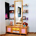 Wooden Bordered Mirror with Drawer Chest