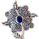 Natural Sapphire Studded Silver Brooch