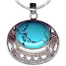 Natural Turquoise Studded Silver Pendant