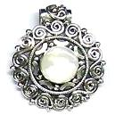 White Stone Studded Silver Pendant