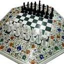 White Marble Chess Board