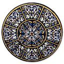 Round Black Marble Inlay Table Top