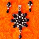 Black and White stone Studded Pendant Sets