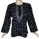 Black Chikan Embroidered Tunic Top