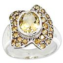 Citrine Studded Silver Ring