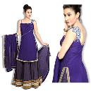 Purple Coloured Crepe Lahenga