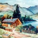 Handmade Decorative House And Mountain Painting