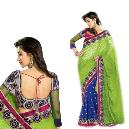 Green Coloured Embroidered Saree