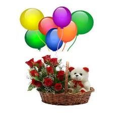 Balloon Red Roses And Teddy Packed Basket