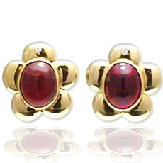 Gold Earrings With Pink Tourmalines