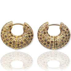 Contemporary Gold Hoop Earrings With Diamonds