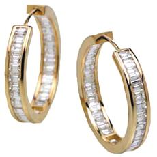 Gold Hoops With Baguettes