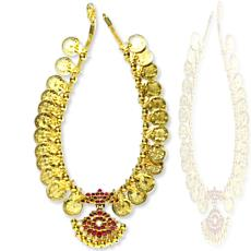 Gold Coin Necklace With Pendant In Cabochon Rubies