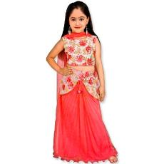 Embroidered Ghagra Choli In Pastel Red Color - Indian