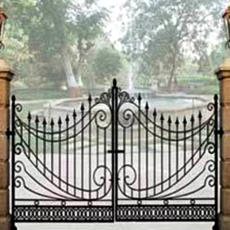 Designer Main Gate With Panelled Pillars Indian Products Directory