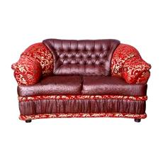 Red And Brown Coloured Sofa