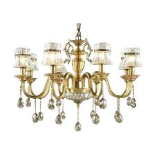 Antique Brass Casted Chandelier With Crystals